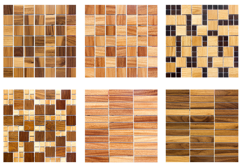 Mosaic Tile As Interior Elements : Mosaic Tile As Interior Elements : Naturior - wooden mosaic tiles